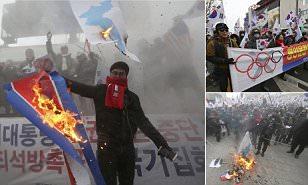 Запалени знамиња на Северна Кореја во Сеул